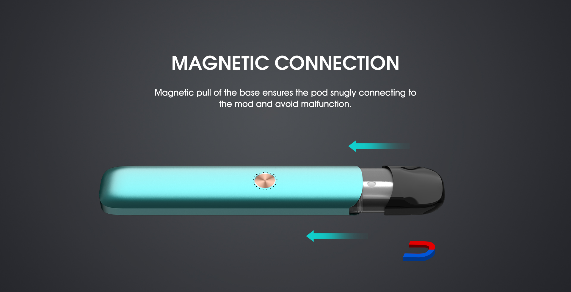 Nem montering af nye pods på Vaptio Razor med magnetisk tilslutning