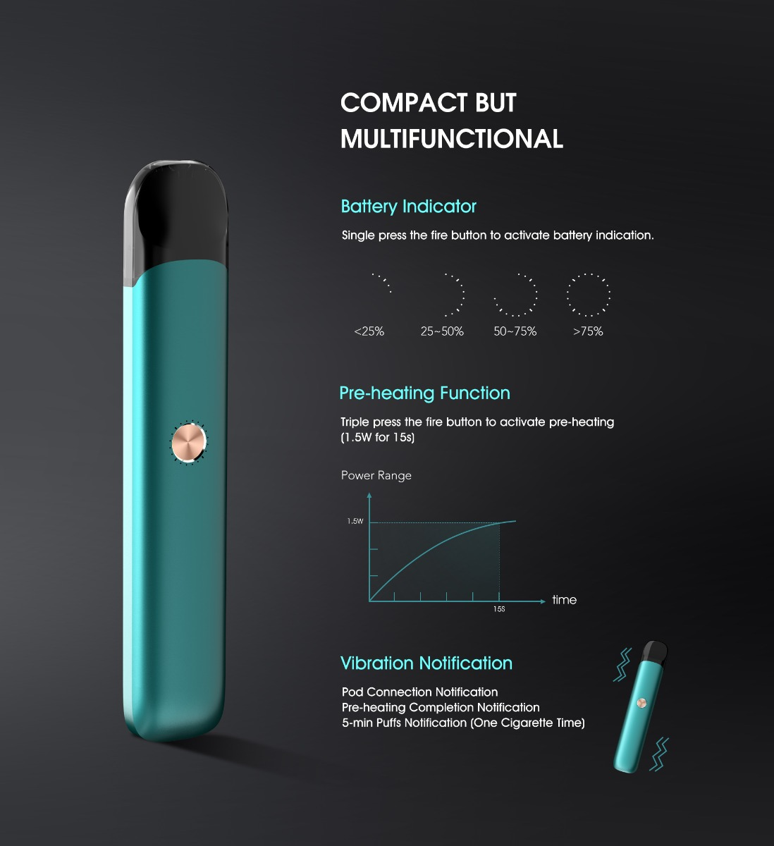 Vaptio Razor Pod Kit har smart LED-indikator og pre-heating funktion